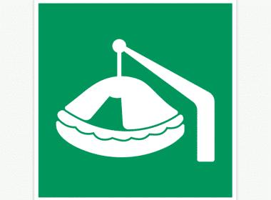 Sticker-davit-gelanceerd-reddingsvlot-(ISO-7010,-E039)-nood