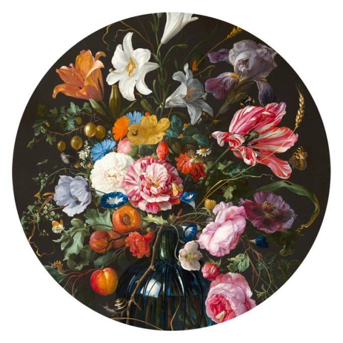 muurcirkel behangcirkel bloemen vase of flowers wandcirkel davidsz jan de heem
