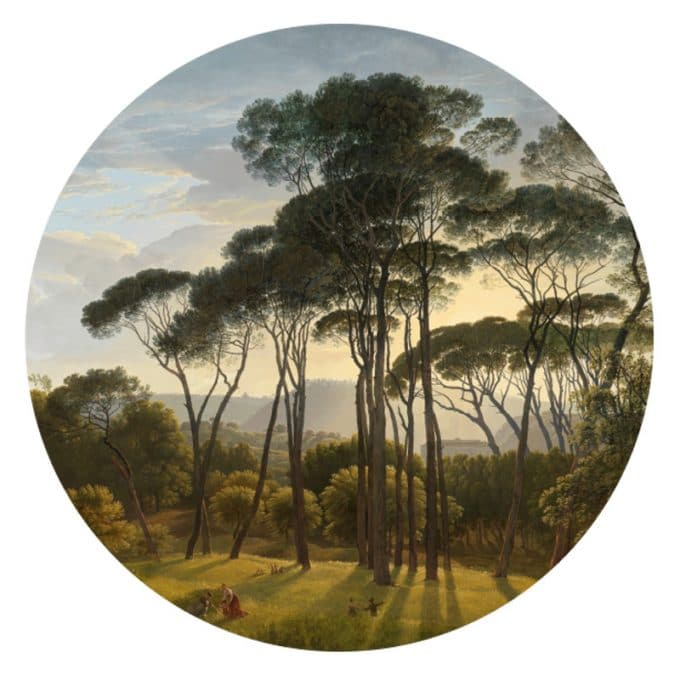 muurcirkel behangcirkel natuur bomen uitzicht zon Italiaans landschap met parasoldennen Hendrik Voogd 1807