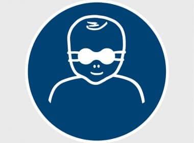 Sticker Oogbescherming kinderen verplicht ISO 7010 M025 gebodsstickers veiligheidsstickersArtboard 1-80