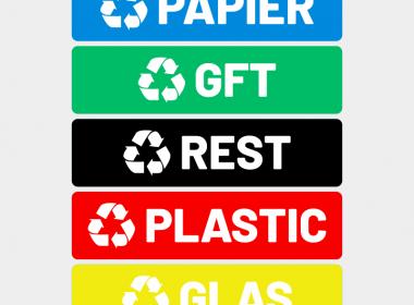 afval stickers recycle glas papier gft plastic groen blauw zwart rood geelArtboard 1-8