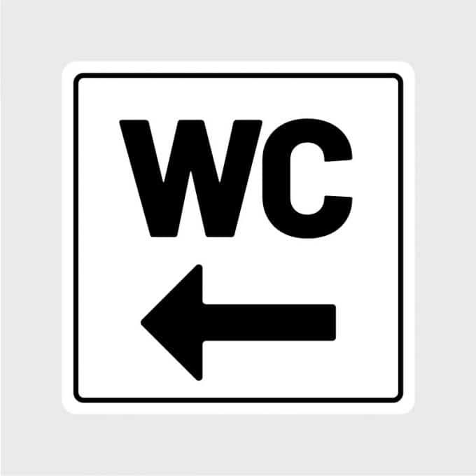 deursticker wc sticker wc zwart toilet pijl links wegwijsArtboard 1-80