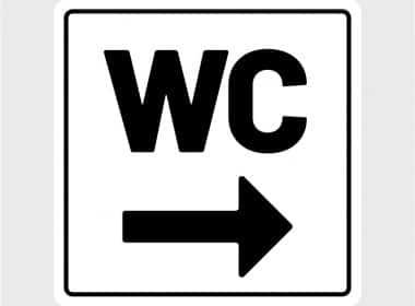 deursticker wc sticker wc zwart toilet pijl rechts wegwijsArtboard 1-80