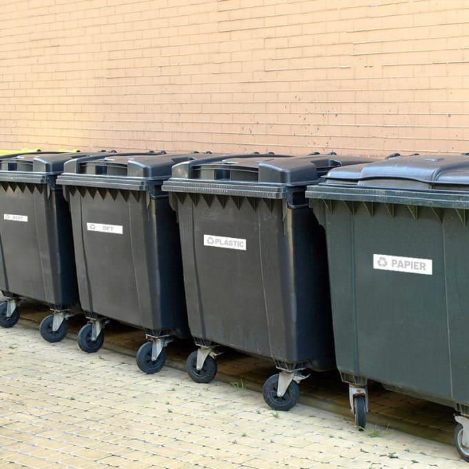 recycle afvalstickers stickers papier plastic glas rest afval container bak plakkers buiten